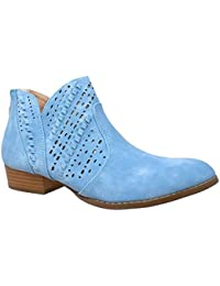 Womens Ankle Boots Western Block Heel Bootie Perforated...
