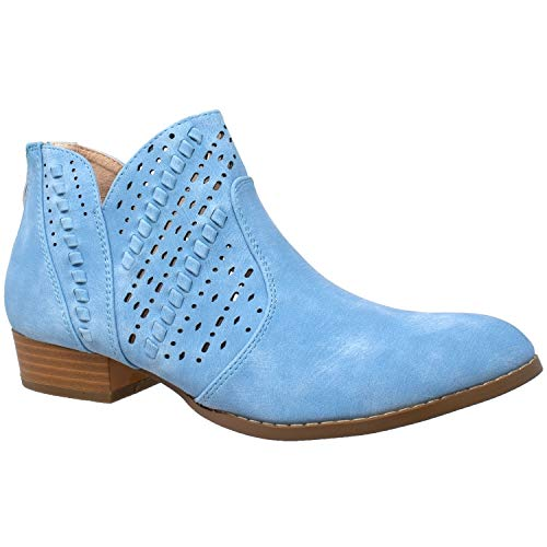 Womens Ankle Boots Western Block Heel Bootie Perforated Cutout Shoes Leather Lining Blue SZ 10 ()