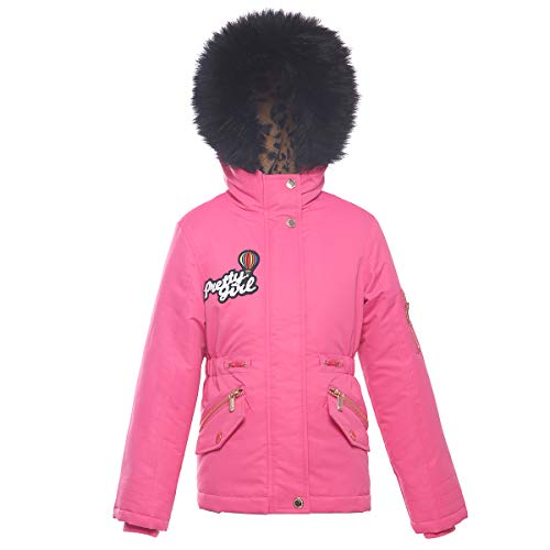 Rokka&Rolla Girls' Water-Resistant Lined Hooded Thickened Parka Puffer Jacket with Faux-Fur Hood Trim Hot Pink