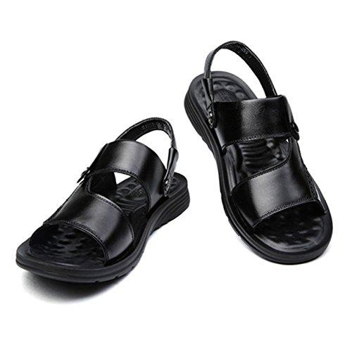 On Hope Con Sandali Black Sandali Da Spiaggia Slip Zeppa Aperti Mules Uomo Sandali Fibbia Pelle Con Comfort Estivi Sandali Da In YYnORrv