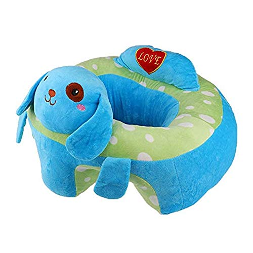 Jeterndy Learning to Sit On The Sofa Baby Support Seat Sofa Plush Chair Colorful Infant Learn Sitting Soft Chair Pillow Safety Eating Chair Cartoon Dog Shaped Children's Plush Toy Blue Baby Seat