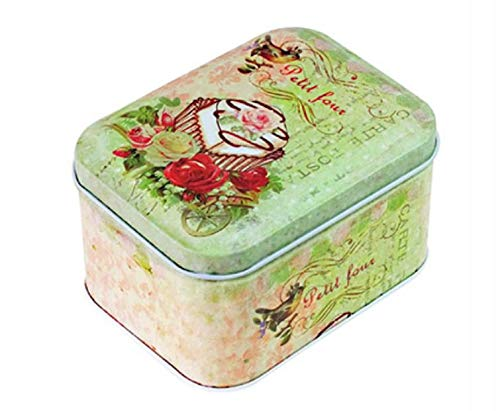 Storage Canisters for Tea Coffee Storage Jars Rectangular Retro Flower Tea Tinplate Candy Packing Box (Red Rose)