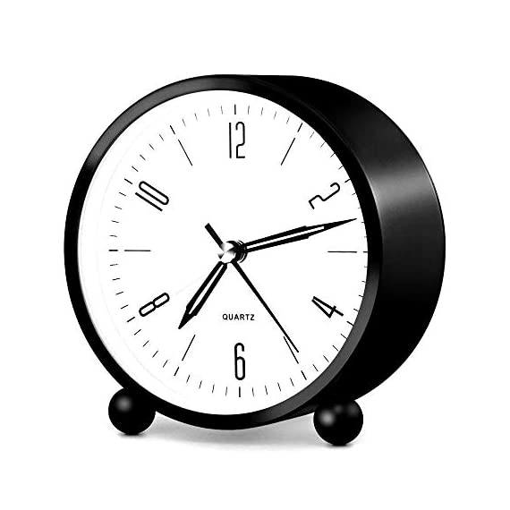 HeQiao Silent 4 Inch Metal Table Alarm Clock with Night Light (Bright Black) - Silent sweep clock. No bothersome ticking noise Easy to see time at night by soft back light Tick-free large face clock with not jarring alarm - clocks, bedroom-decor, bedroom - 41PtqKEW2kL. SS570  -