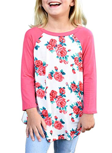 Bulawoo Girls Cute T Shirts 3/4 Sleeve Pullover Tops Floral Blouse Birthday Shirt Fashion Outfits Size 6 7 Pink-Print (3/4 Birthday Sleeve)