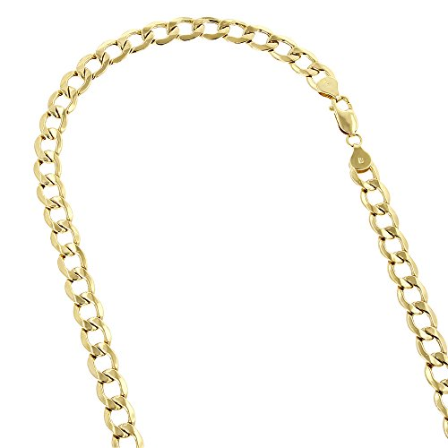 (IcedTime 10K Yellow Gold Hollow Italy Cuban Curb Link Bracelet with Lobster Clasp 6mm Wide 8