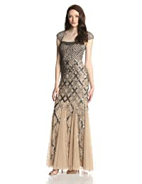 Adrianna Papell Women's Beaded Gown with Cap Sleeves