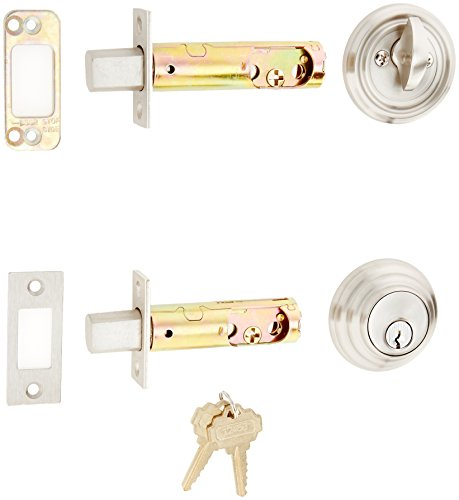 Solid Brass Single Cylinder Low Profile Deadbolt Satin Nickel with 2 3/8