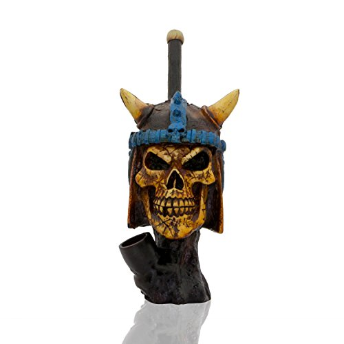 Handmade Tobacco Pipe Horror Movies Hand Painted Art Collectible (Viking Skull) by JEWELS FASHION