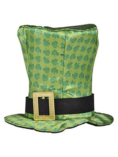 Rhode Island Novelty Green Shamrock Print Leprechaun Top Hat with Buckle Costume Accessory -