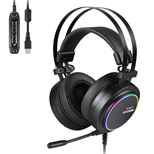 AUKEY Gaming Headset PC USB Stereo Headphone with Virtual 7.1 Surround Sound, Noise Canceling Mic, Memory Foam Earpads, RGB Rainbow Ring Lights, Volume Control for PC, PS4 (Black)