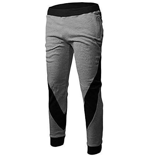 New Men Pants Patchwork Long Casual Cotton Pockets Athletic Jogging Harem Running Sports Trousers Sweatpants Slacks Gray M