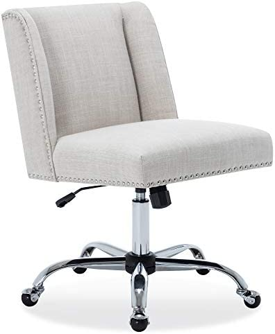 BELLEZE Upholstered Linen Office Chair Nailhead Trim Swivel Task Chair Height Adjustable