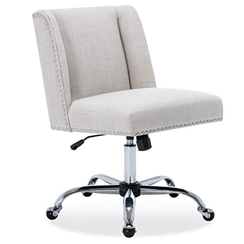 BELLEZE Upholstered Linen Office Chair Nailhead Trim Swivel Task Chair Height Adjustable, White