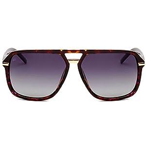 "PRIVÉ REVAUX ICON Collection ""The Bruce"" Handcrafted Designer Polarized Aviator Sunglasses For Men & Women (Purple Tortoise)"