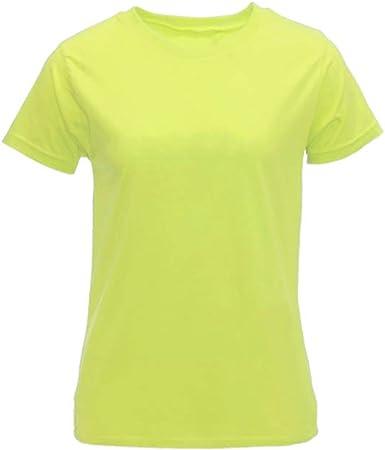 Camiseta Mujer Corte Normal Recto Básica Lisa 100% Algodón: Amazon.es: Ropa y accesorios