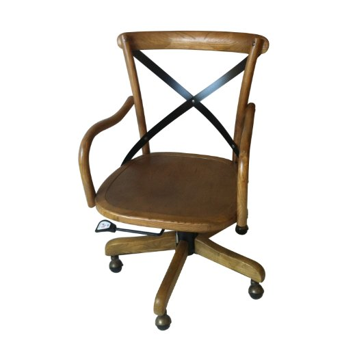 adeco ch0012 elm wood rattan antique dining swivel chair