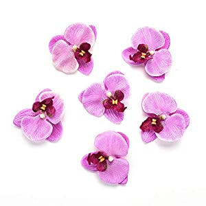 Fake flower heads in Bulk Wholesale for Crafts Outdoor Fashion Orchid Artificial Flowers DIY Butterfly Orchid Cloth Fake Flowers Bouquet Party Wedding Decoration Artificial Flowers 30pcs 6.5cm (Blue) 5