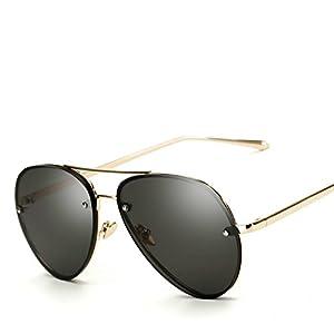 Oversized Aviator Sunglasses Vintage Retro Gold Metal Frame Colorful Lenses 62mm (Black, 62mm)