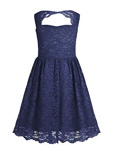 FEESHOW Juniors Sleeveless Floral Lace Halter Neck Flower Girls Wedding Dress Bridesmaid Party Knee Length Dress Maxi Gowns Navy Blue 4]()