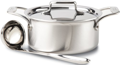 All-Clad BD553033 D5 Brushed 18/10 Stainless Steel 5-Ply Bonded Dishwasher Safe Soup Pot with Lid and Ladle Cookware, 3-Quart, Silver