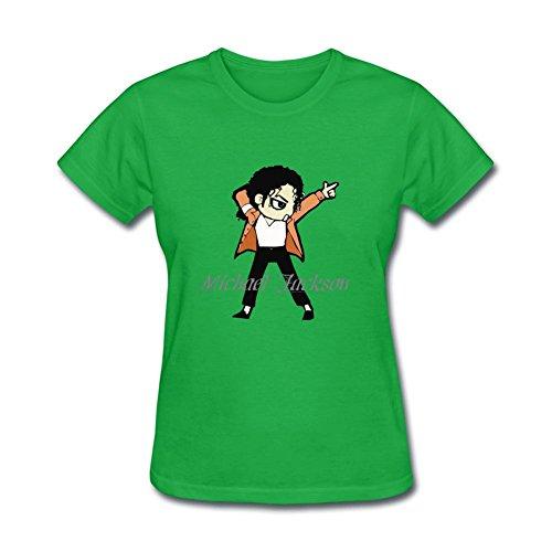 Xiaoqiu Women's Michael Jackson T-shirt L Forest Green