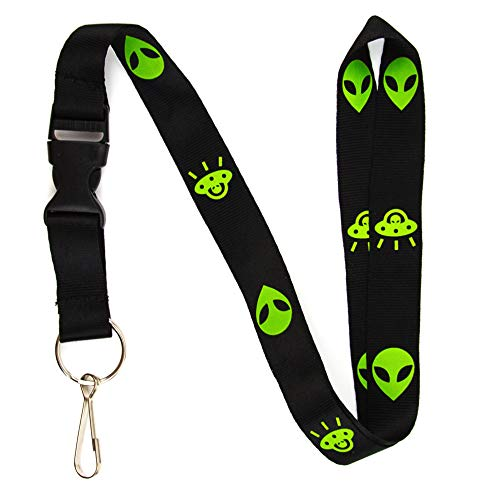 (Alien & UFO Lanyard Keychain and ID Holder with Detachable, Breakaway Buckle for Keys or Badge - Durable Black Nylon - Funny Space Novelty Necklace)