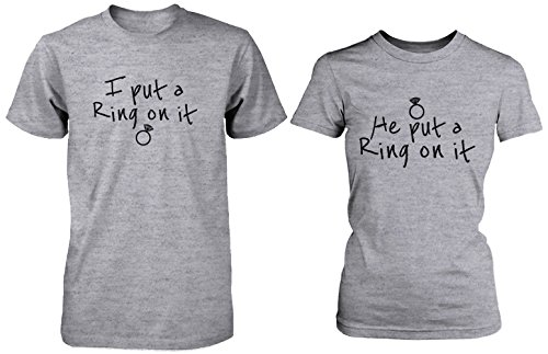 Ring On It Couple Tee His and Hers Wedding Shirts Engagement Matching T-shirts by 365 Printing