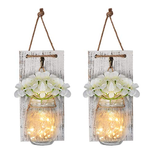 Mason Jar Wall Decor Rustic Wall Sconces with Fairy Light String, Vintage Wrought Iron Hooks ,Silk Hydrangea, Decorative Flower for Home Kitchen Dining Room set of 2 -