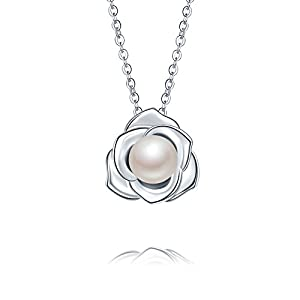 """Lovely Rose"" High Polished 925 Sterling Silver Earrings with 7mm Natural Freshwater Pearl"
