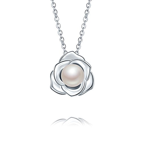 KEETEEN Lovely Rose High Polished 925 Sterling Silver Earrings with 7mm Natural Freshwater Pearl (Necklace Pendant)