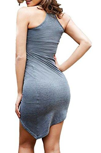 Clubwear JSYAU Color Skinny Women's Spaghetti Irregular Dress Sexy Strap Gray Dark Summer Pure rBwIzBq1