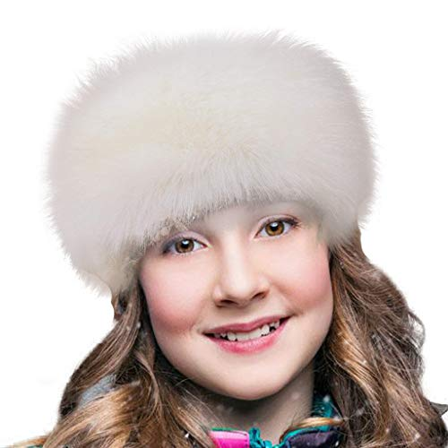 FHQHTH Faux Fur Headband with Elastic Stretch Women Fur Hat Winter Ear Warmer Earmuff Ski Cold Weather Caps [White]