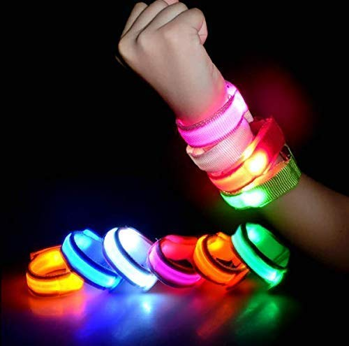 VPlus 5 Pack LED Band, Glow Bracelet, Flashing UP Safty Light Sport Armband Wristband for Halloween Christmas Party Favor and Running Walking Cycling Concert Camping Outdoor Sports Color Randomly