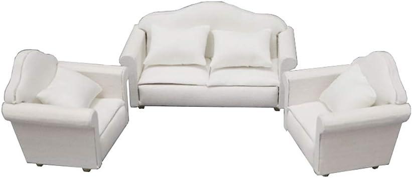 1//12 Scale Armchair Single Sofa Cushion Set for Dollhouse Living Room Accs