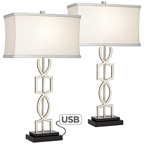 Evan Modern Table Lamps Set of 2 with Hotel Style USB Charging Port Brushed Nickel Rectangular Shade for Living Room Family Bedroom - 360 Lighting