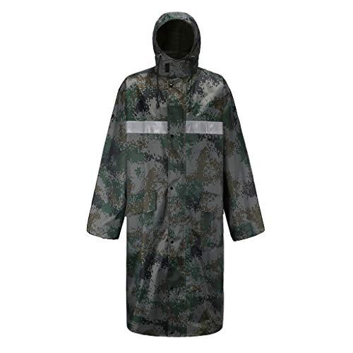 ANJUNIE Men Camouflage Waterproof,Lightweight Raincoat Pants Casual Hooded Long Jacket (Green,XXL) (Cardinal Capri)