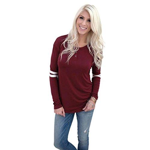 zolimx Blusas de manga larga mujer ronda cuello empalme camisa blusa T Shirt Rojo B