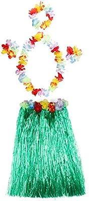 Falda de hierba hawaiana para niños, pulseras de flores, diadema ...