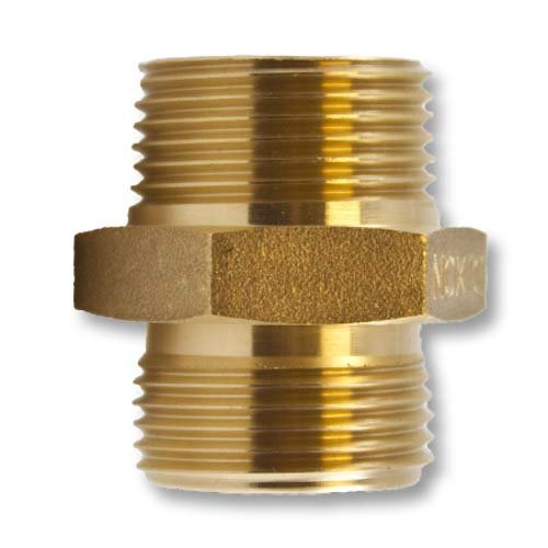 Brass Hex 1'' NH to 1'' NPT Double Male Fire Hose Adapter