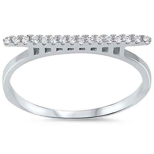 Fashion Trendy Bar Ring Round Micro Pave Simulated Cubic Zirconia 925 Sterling Silver (Round Pave Micro Ring)
