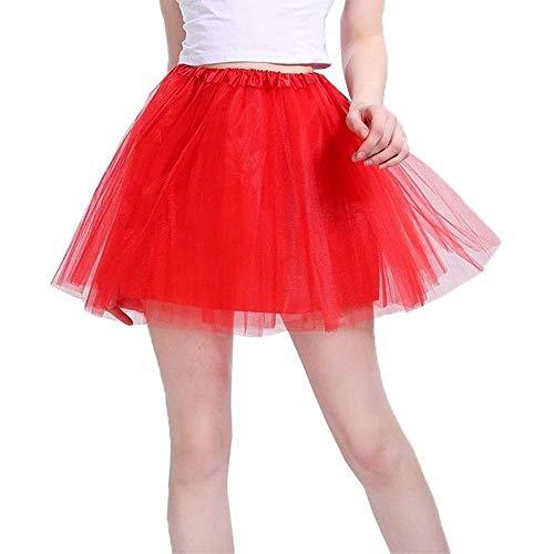 Women's Classic 3 Layered Tulle Tutu Skirt,Red,Satin