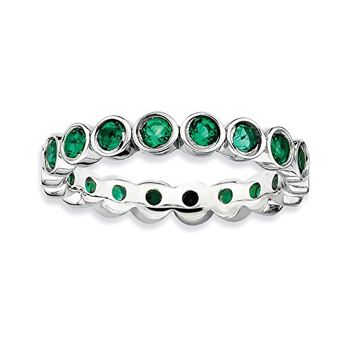 Top 10 Jewelry Gift Sterling Silver Stackable Expressions Created Emerald Ring by Jewelry Brothers Rings