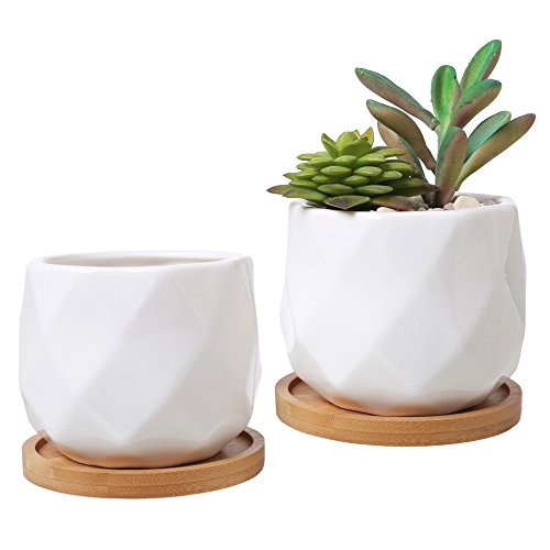 3-Inch White Ceramic Diamond-Faceted Planters with Removable Bamboo Trays, Set of - Ceramic White Inch 3