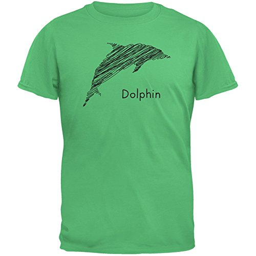 Dolphin Scribble Drawing Irish Green Adult T-Shirt - X-Large (Irish Lions Home Shirt)