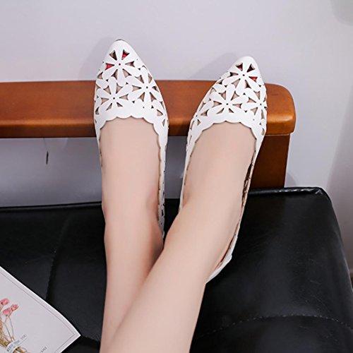 de 2018 Hueco Cómodos Zapatos con Sandalias de Suela Cuero sintético Sandalias Zapatillas Blanco Planos Casual Blanda Moda Mujer Vestir Verano y Fiesta Punta para Bohemia de Noche PAOLIAN 1gYTww