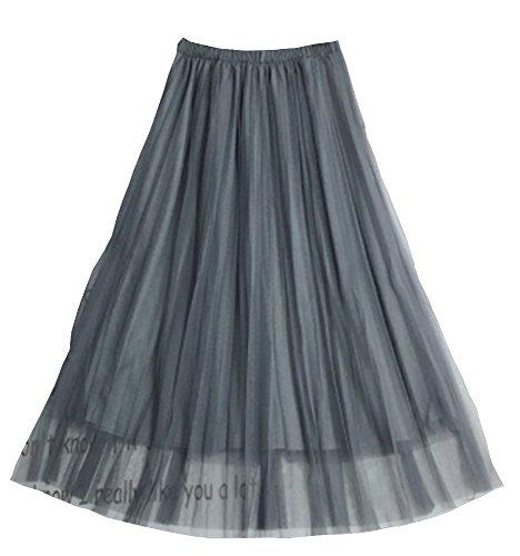 Women's Tulle Long Tutu Skirt Lace Mesh Simple Elastic Waist A Line Layer (Gray)
