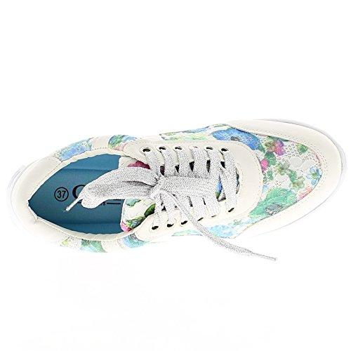 Compensado Las Mujeres Blancas y Flores con Zapatillas de Suela Blancas - 37 aNlUdGtkqy