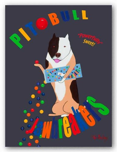 "Pit Bull Jaw Breakers by Ken Bailey 14""x11"" Art Print Poster"