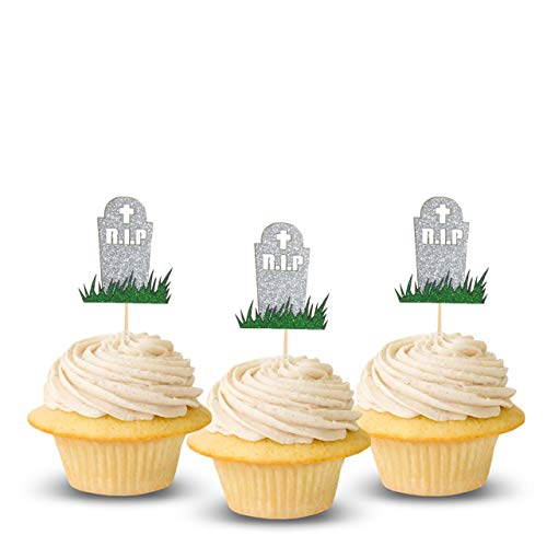 Tombstone Halloween Cupcake Topper 12 pieces per Pack Decoration Cake glitter Card Stock Silver