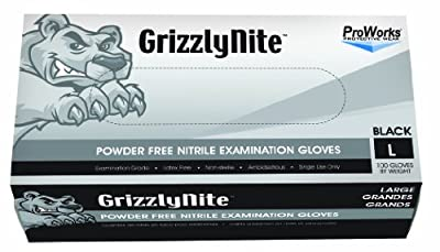 "Hospeco ProWorks GrizzlyNite GL-N105FL Exam Grade Nitrile Glove, Powder Free, Disposable, 9.5"" Length, 4.3 mils Thick, Large (Pack of 1000)"